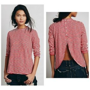 We the free mod stripe tee in red L